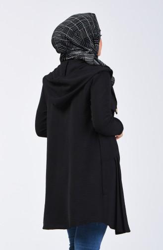 Aerobin Kumaş Kapüşonlu Cep Detaylı Tunik 1413-03 Siyah