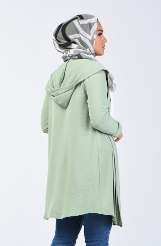 Aerobin Fabric Hooded Tunic with Pockets 1413-05 Green Almond 1413-05
