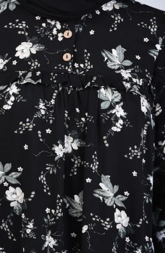 Çiçek Desenli Viskon Tunik 0005B-02 Siyah