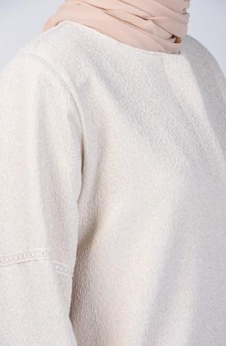 Plus Size Lace Detailed Pearl Jacket 0851-02 Beige 0851-02