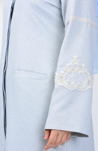Veste Perlée Détail Dentelle Grande Taille 0851-03 Bleu Glacé 0851-03