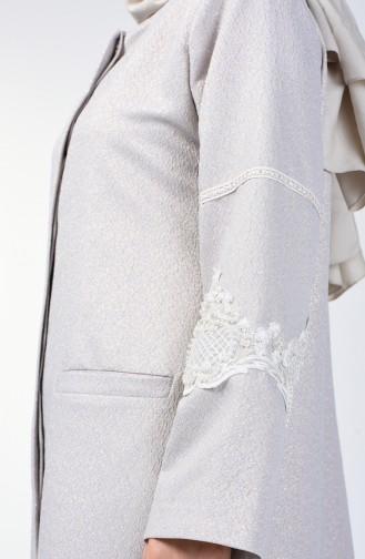 Grösse Grosse Spitzen-Detaillierte Perlen Jacke 0851-04 Grau 0851-04