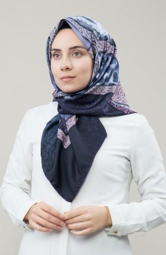 Karaca Sentetik İpek Twill Eşarp 90677-06 Mor Lacivert 90677-06