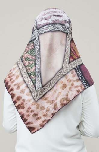 Karaca Synthetic Silk Twill Scarf 90677-11 Damson Fuchsia 90677-11