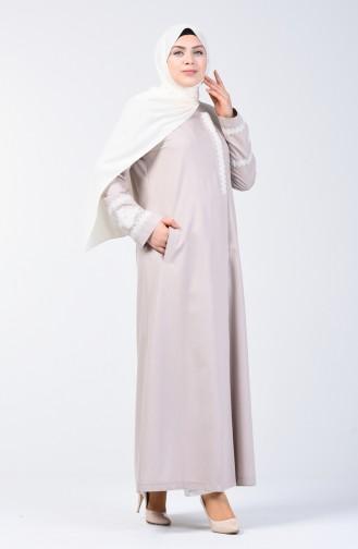 Grösse Grosse Bestickter Hijab-Mantel 0809-01 Beige 0809-01