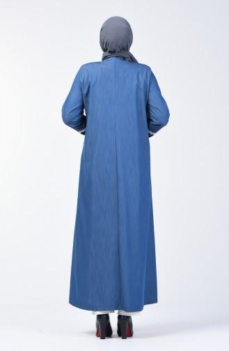 Grösse Grosse Bestickter Hijab-Mantel 0809-02 Jeansblau 0809-02