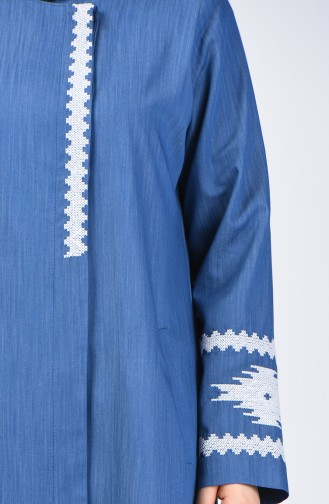 Grösse Grosse Bestickter Hijab-Mantel 0809-02 Jeans Blau 0809-02