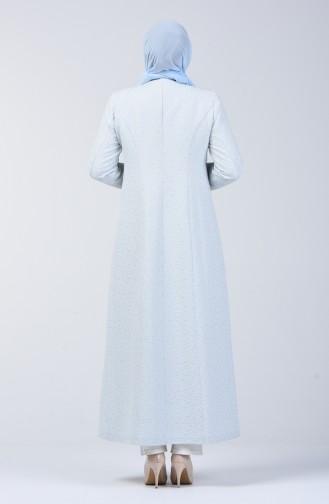 Grösse Grosse Bestickter Hijab-Mantel 1903-01 Blau 1903-01