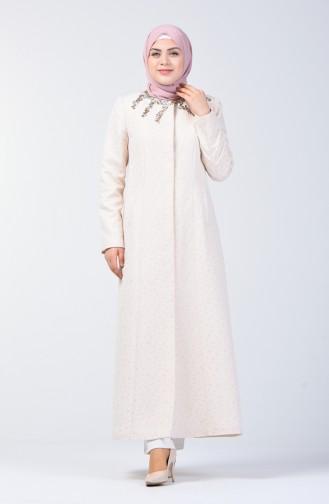 Grösse Grosse Bestickter Hijab-Mantel 1903-02 Lachs 1903-02