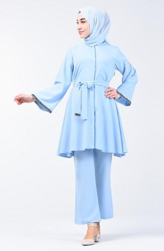Kolu Taşlı Tunik Pantolon İkili Takım 0288-06 Bebe Mavisi 0288-06