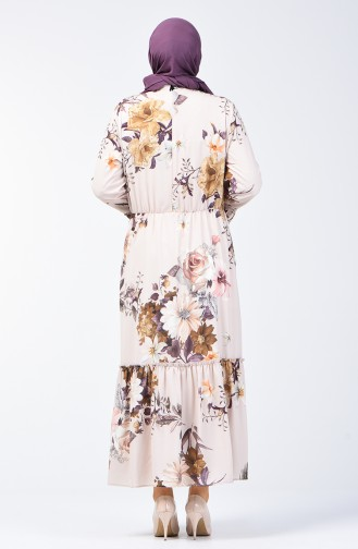 Plus Size Flower Decorated Dress 7939-05 Stone 7939-05