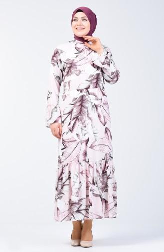 Plus Size Flower Decorated Dress 7939A-05 Powder Ecru 7939A-05
