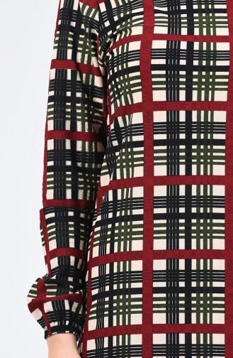 Kolu Lastikli Desenli Elbise 8863-02 Haki Bordo
