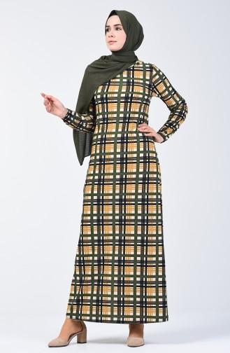 Elastic Patterned Dress 8863-03 Khaki Mustard 8863-03