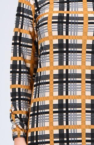 Kolu Lastikli Desenli Elbise 8863-04 Siyah Hardal