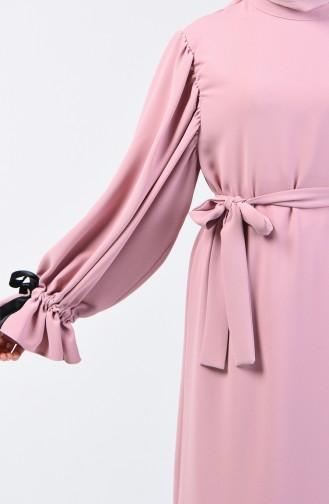 Kolları Büzgülü Elbise 0360-01 Pudra 0360-01