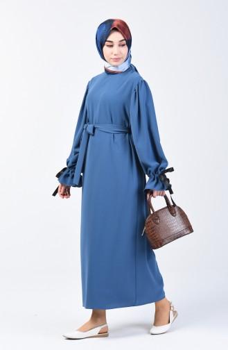 Kolları Büzgülü Elbise 0360-03 İndigo 0360-03