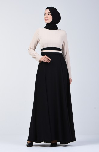 Garni Belted Dress 6845-01 Beige Black 6845-01