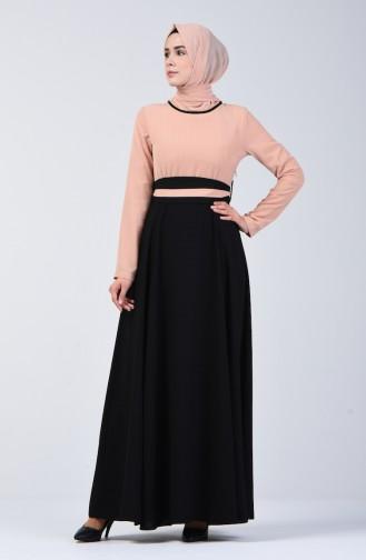 Garnili Kuşaklı Elbise 6845-02 Somon Siyah