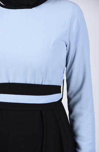 Garnili Kuşaklı Elbise 6845-03 Bebe Mavisi Siyah 6845-03