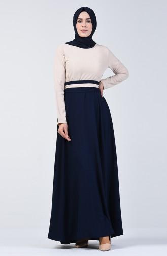 Garnili Kuşaklı Elbise 6845-04 Bej Lacivert 6845-04