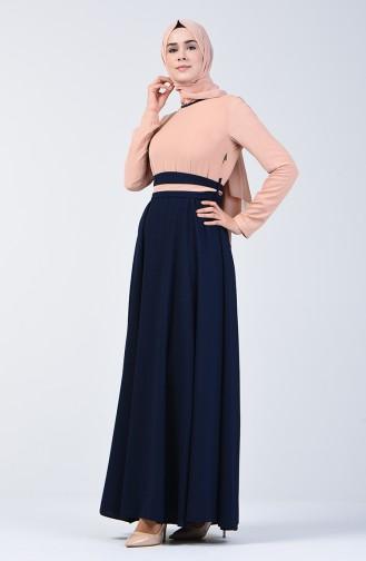 Garnili Kuşaklı Elbise 6845-05 Somon Lacivert 6845-05