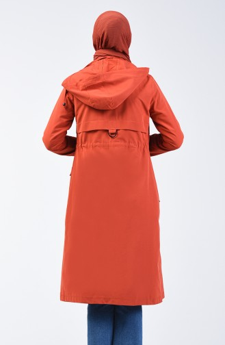 Ruched Waist Trenchcoat 6086-02 Brick Red 6086-02
