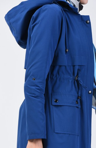 Trench Coat Taille Froncée 6086-03 İndigo 6086-03