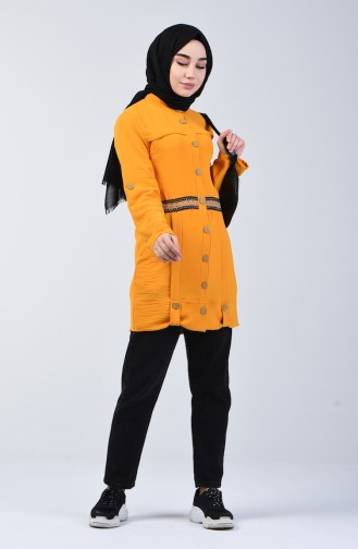 تونيك بأزرار قماش آيروبين خردلي 1412-01