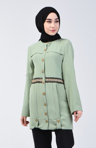 Aerobin Fabric Buttoned Tunic 1412-05 Green Almond 1412-05