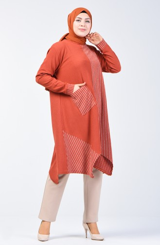 Asymmetric Tunic with Pocket 6050-03 Brick Red 6050-03