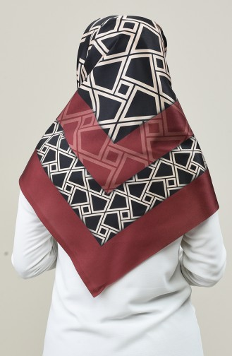 Digitally Printed Taffeta Scarf 95335-06 Dark Claret Red 95335-06