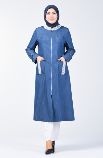 Grösse Grosse Spitzen-Detailliertes Abaya 0801-01 Jeansblau 0801-01
