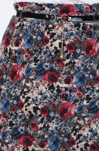 Flower Decorated Skirt 1041-04 Indigo 1041-04