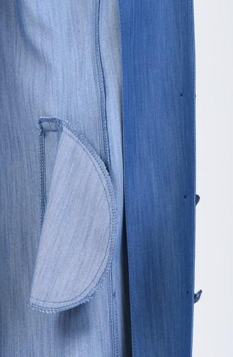 Grösse Grosse Hijab-Mantel 0839-02 Jeans Blau 0839-02