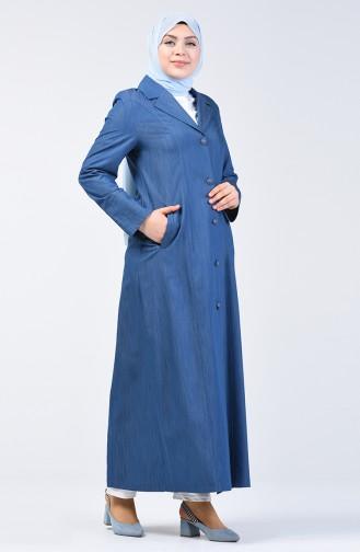Büyük Beden Tensel Pardesü 0855-03 Kot Mavi