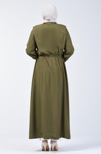 Grösse Grosse Geknöpfter Hijab-Mantel  2049-01 Khaki 2049-01