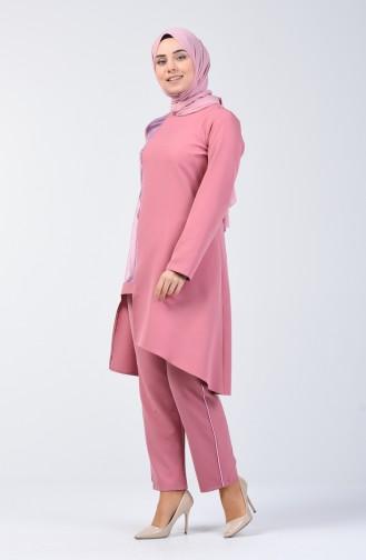 Garnili Tunik Pantolon İkili Takım 5533-03 Gül Kurusu