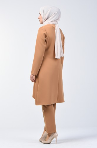 Garnili Tunik Pantolon İkili Takım 5533-06 Bej
