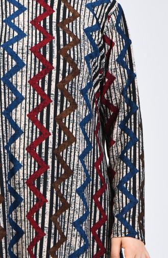 Büyük Beden Desenli Tunik Pantolon İkili Takım 2657B-01 Petrol Siyah