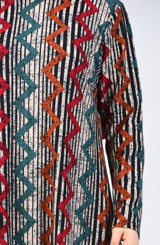 Ensemble Deux Pieces Pantalon Tunique à Motifs Grande Taille 2657B-03 Vert émeraude Noir 2657B-03