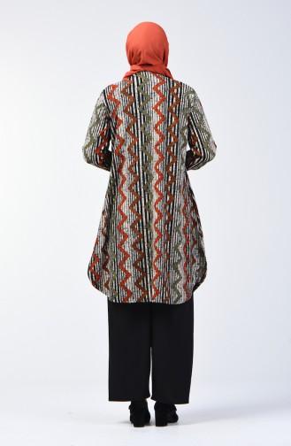 Büyük Beden Desenli Tunik Pantolon İkili Takım 2657B-04 Taba Siyah