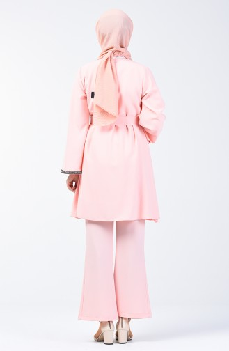 Kolu Taşlı Tunik Pantolon İkili Takım 0288-02 Pudra