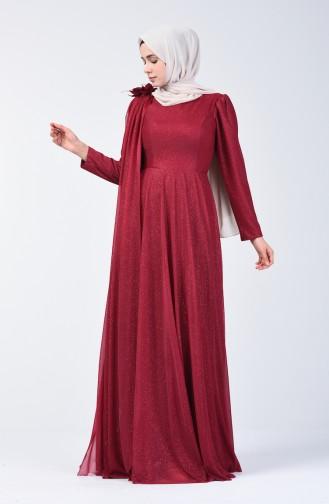 Glittered Evening Dress Dress 3050-05 Claret Red 3050-05