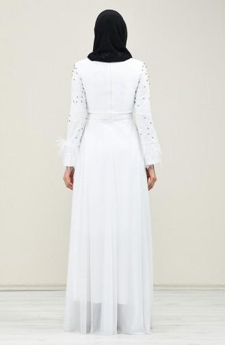 Perlen Abendkleid 3062-04 Naturfarbe 3062-04