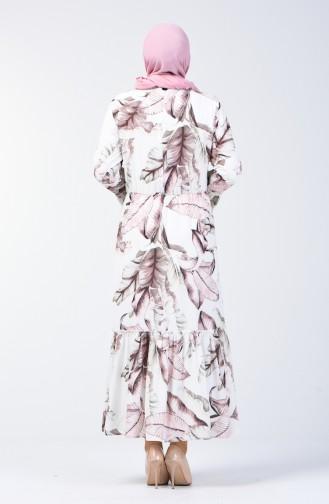 Plus Size Flower Decorated Dress 7939A-03 Ecru Mink 7939A-03