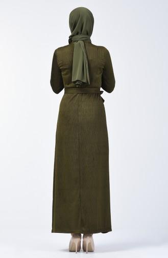 Simli Kuşaklı Elbise 0030-01 Haki