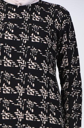 Büyük Beden Desenli Elbise 8003-01 Siyah 8003-01