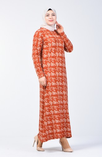 Plus Size Patterned Dress 8003-02 Brick Red 8003-02