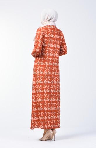 Büyük Beden Desenli Elbise 8003-02 Kiremit 8003-02